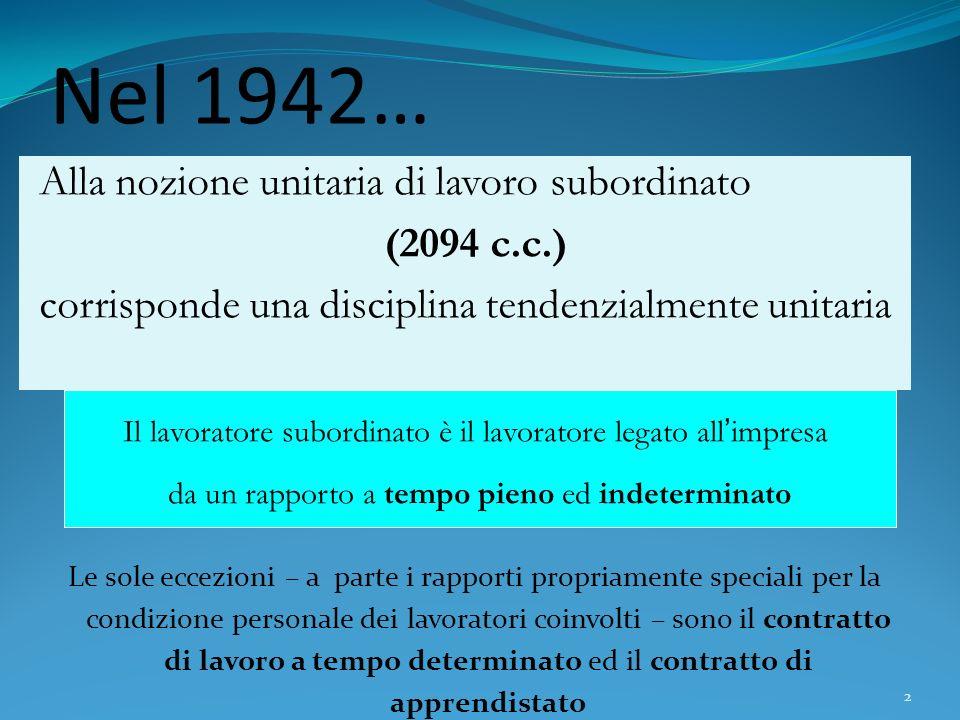 2 Nel 1942… Alla nozione unitaria di lavoro subordinato (2094 c.c.) corrisponde una disciplina tendenzialmente unitaria Le sole eccezioni – a parte i