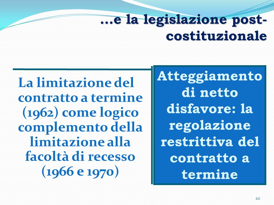20 …e la legislazione post- costituzionale La limitazione del contratto a termine (1962) come logico complemento della limitazione alla facoltà di rec