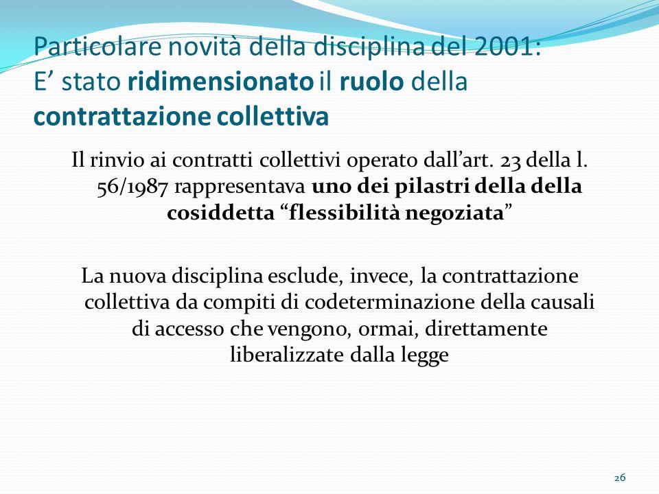 26 Particolare novità della disciplina del 2001: E stato ridimensionato il ruolo della contrattazione collettiva Il rinvio ai contratti collettivi ope