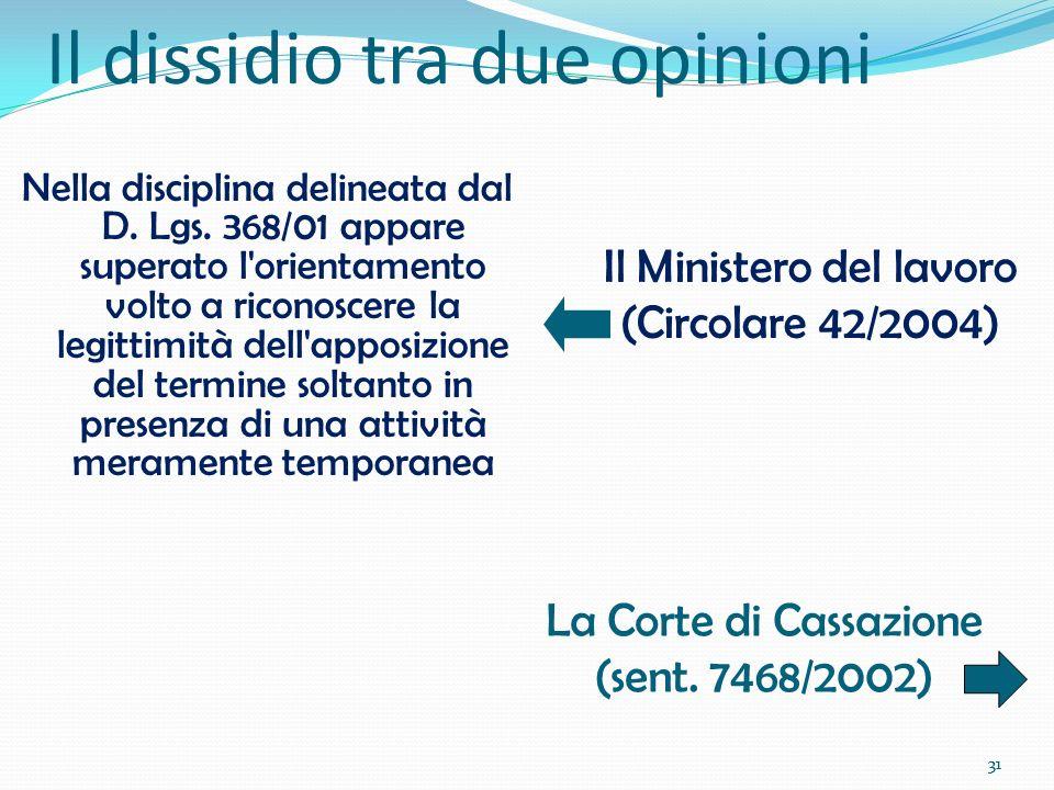 31 Il dissidio tra due opinioni Nella disciplina delineata dal D. Lgs. 368/01 appare superato l'orientamento volto a riconoscere la legittimità dell'a