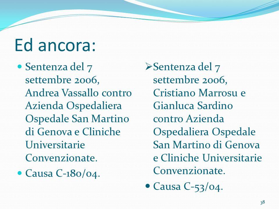 38 Ed ancora: Sentenza del 7 settembre 2006, Andrea Vassallo contro Azienda Ospedaliera Ospedale San Martino di Genova e Cliniche Universitarie Conven