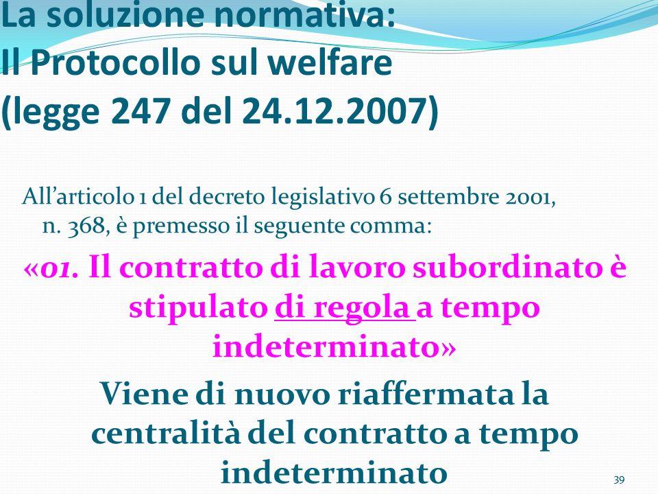39 La soluzione normativa: Il Protocollo sul welfare (legge 247 del 24.12.2007) Allarticolo 1 del decreto legislativo 6 settembre 2001, n. 368, è prem