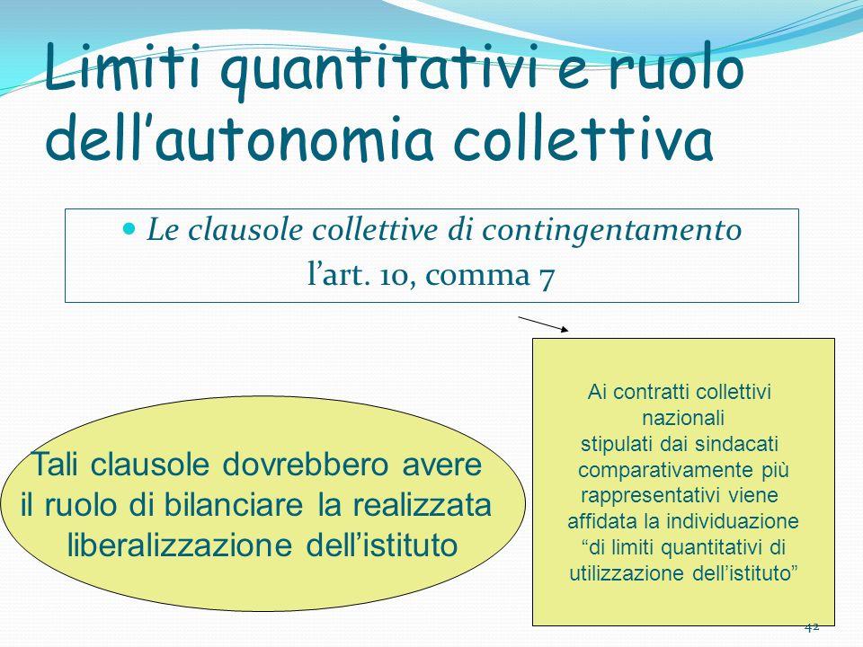 42 Limiti quantitativi e ruolo dellautonomia collettiva Le clausole collettive di contingentamento lart. 10, comma 7 Tali clausole dovrebbero avere il