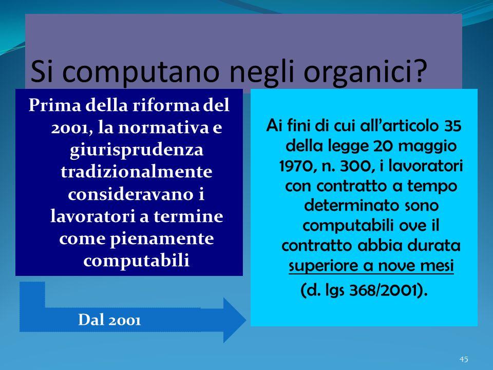 45 Si computano negli organici? Prima della riforma del 2001, la normativa e giurisprudenza tradizionalmente consideravano i lavoratori a termine come