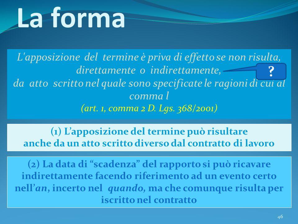 46 La forma L'apposizione del termine è priva di effetto se non risulta, direttamente o indirettamente, da atto scritto nel quale sono specificate le