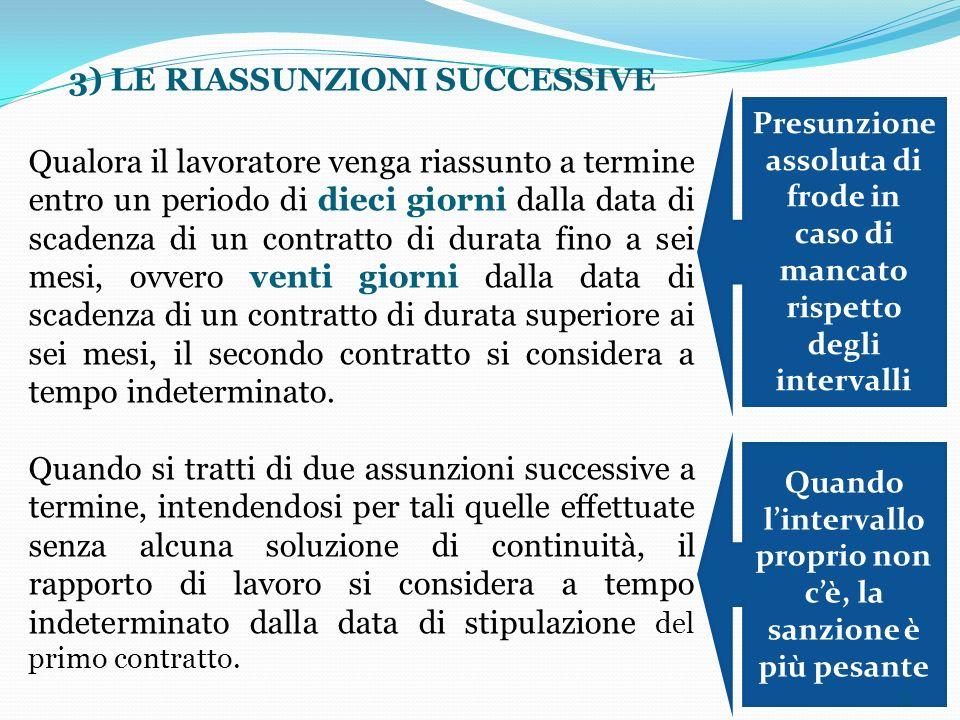 51 3) LE RIASSUNZIONI SUCCESSIVE Qualora il lavoratore venga riassunto a termine entro un periodo di dieci giorni dalla data di scadenza di un contrat