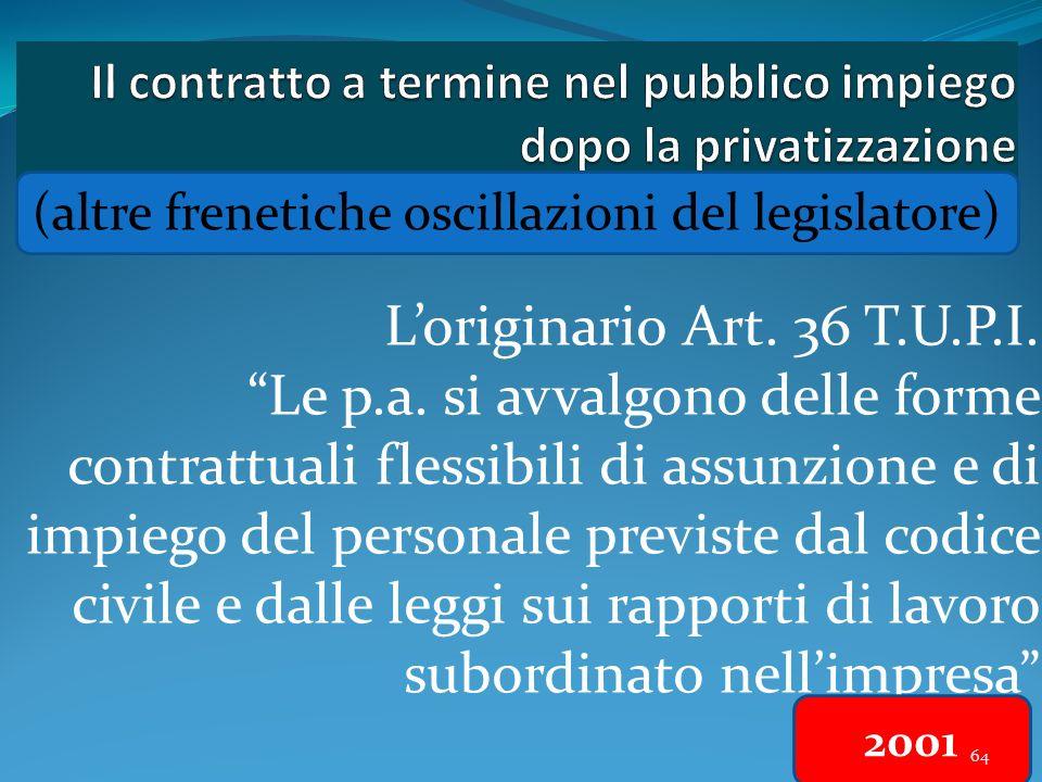64 Loriginario Art. 36 T.U.P.I. Le p.a. si avvalgono delle forme contrattuali flessibili di assunzione e di impiego del personale previste dal codice