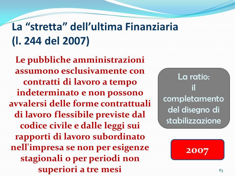 65 La stretta dellultima Finanziaria (l. 244 del 2007) Le pubbliche amministrazioni assumono esclusivamente con contratti di lavoro a tempo indetermin