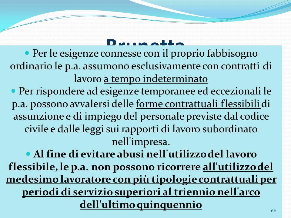 66 Brunetta Per le esigenze connesse con il proprio fabbisogno ordinario le p.a. assumono esclusivamente con contratti di lavoro a tempo indeterminato