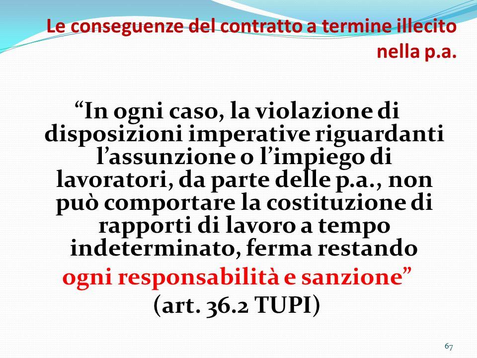 67 Le conseguenze del contratto a termine illecito nella p.a. In ogni caso, la violazione di disposizioni imperative riguardanti lassunzione o limpieg