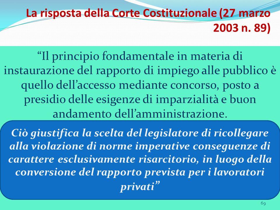 69 La risposta della Corte Costituzionale (27 marzo 2003 n. 89) Il principio fondamentale in materia di instaurazione del rapporto di impiego alle pub