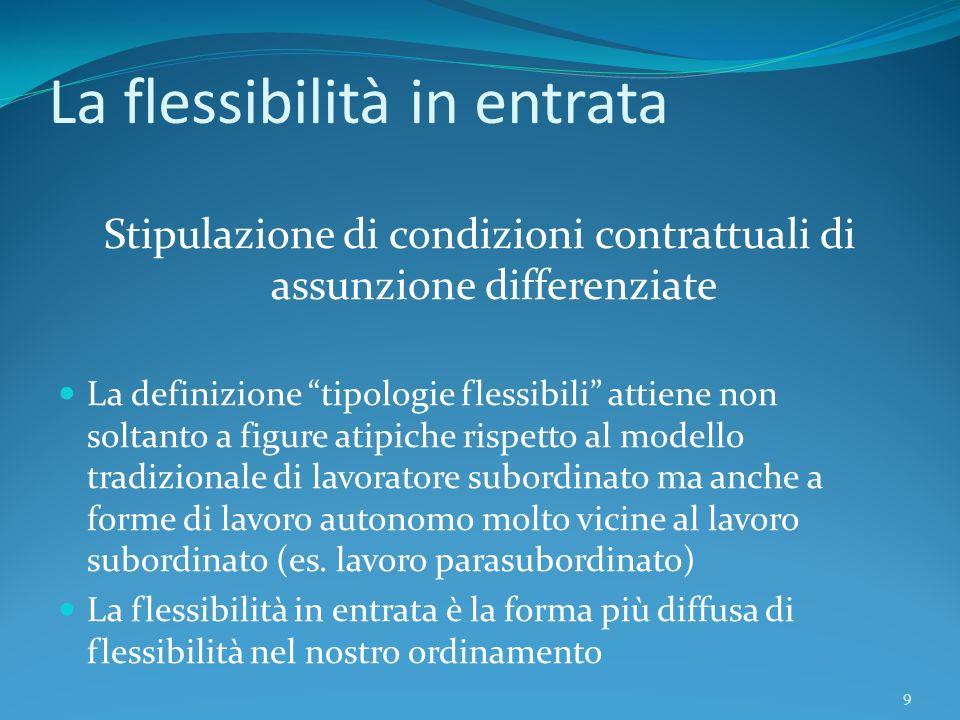 9 La flessibilità in entrata Stipulazione di condizioni contrattuali di assunzione differenziate La definizione tipologie flessibili attiene non solta