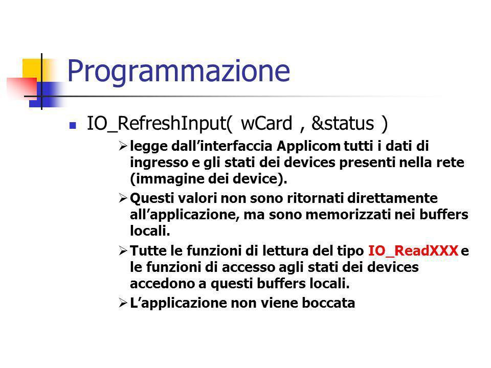 Programmazione IO_RefreshInput( wCard, &status ) legge dallinterfaccia Applicom tutti i dati di ingresso e gli stati dei devices presenti nella rete (immagine dei device).