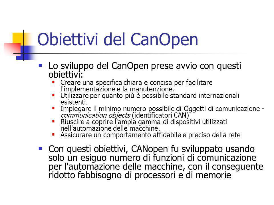 Obiettivi del CanOpen Lo sviluppo del CanOpen prese avvio con questi obiettivi: Creare una specifica chiara e concisa per facilitare l implementazione e la manutenzione.