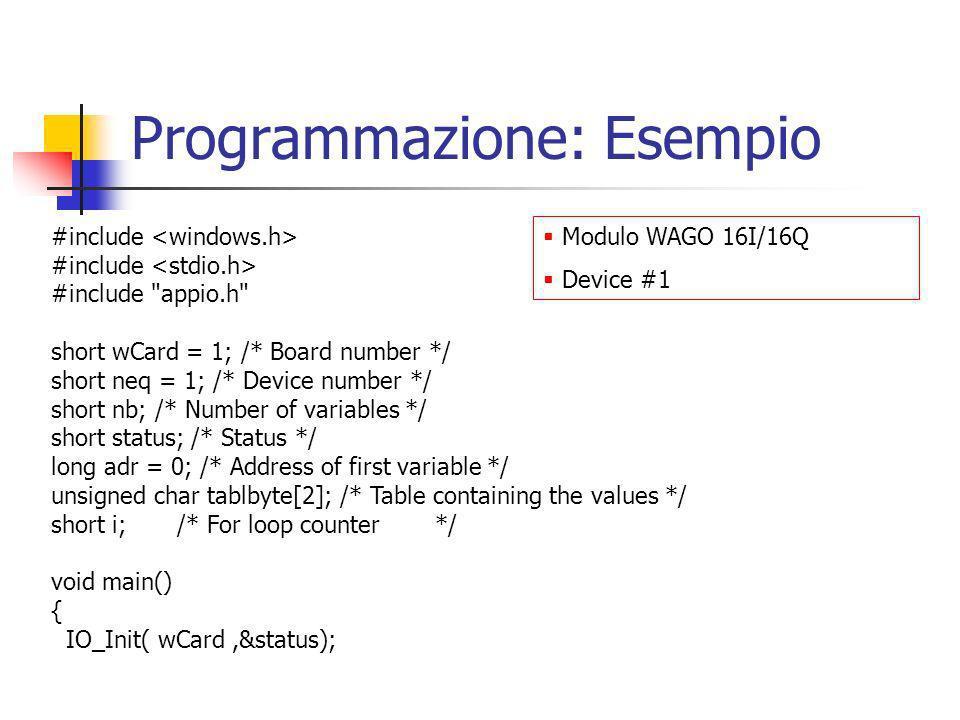 Programmazione: Esempio #include #include