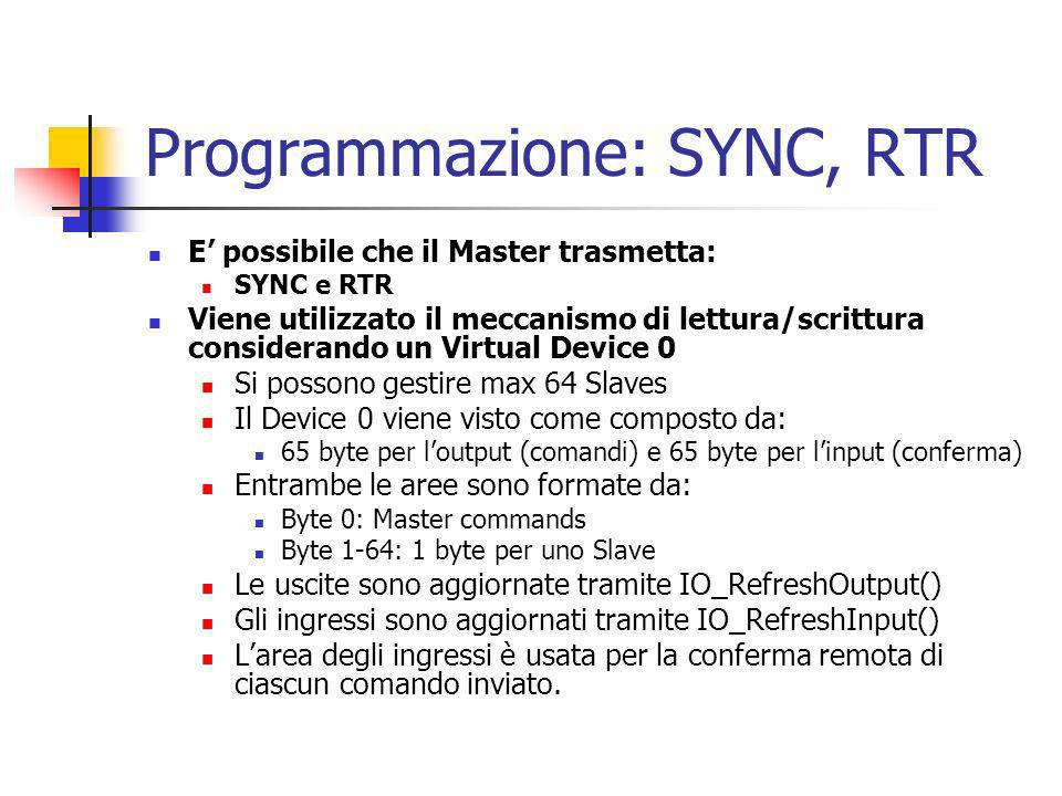 Programmazione: SYNC, RTR E possibile che il Master trasmetta: SYNC e RTR Viene utilizzato il meccanismo di lettura/scrittura considerando un Virtual Device 0 Si possono gestire max 64 Slaves Il Device 0 viene visto come composto da: 65 byte per loutput (comandi) e 65 byte per linput (conferma) Entrambe le aree sono formate da: Byte 0: Master commands Byte 1-64: 1 byte per uno Slave Le uscite sono aggiornate tramite IO_RefreshOutput() Gli ingressi sono aggiornati tramite IO_RefreshInput() Larea degli ingressi è usata per la conferma remota di ciascun comando inviato.
