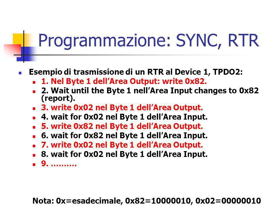 Esempio di trasmissione di un RTR al Device 1, TPDO2: 1. Nel Byte 1 dellArea Output: write 0x82. 2. Wait until the Byte 1 nellArea Input changes to 0x