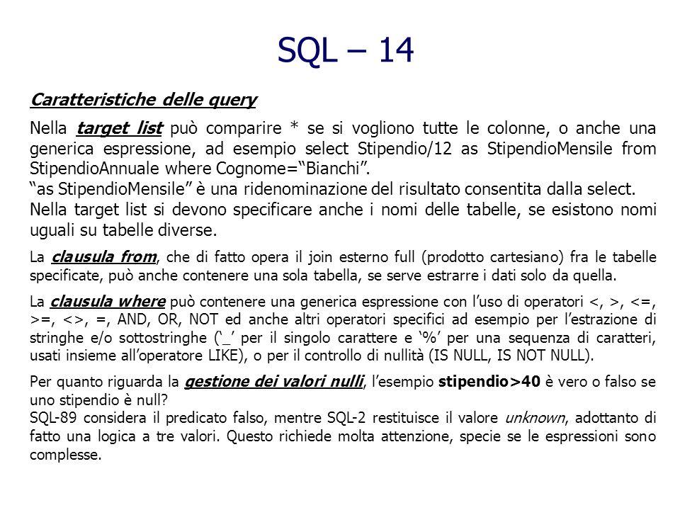 SQL – 13 Interrogazioni SQL esprime le interrogazioni in maniera dichiarativa (in contrapposizione al comportamento procedurale dellalgebra relazional