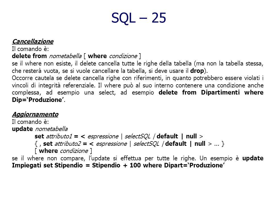 SQL – 24 Manipolazione dei dati in SQL Sinora tutti i comandi visti si occupano della definizione dei dati, o del loro ritrovamento, ma non dellinseri