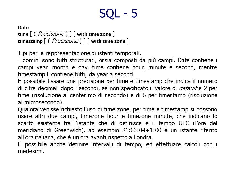 float [ ( Precisione ) ] real double precision Tipi per la rappresentazione di numeri in virgola mobile in notazione esponenziale (scientifica), ad es