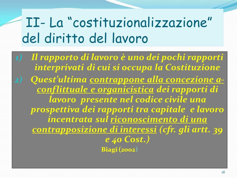 II- La costituzionalizzazione del diritto del lavoro 1) Il rapporto di lavoro è uno dei pochi rapporti interprivati di cui si occupa la Costituzione 2