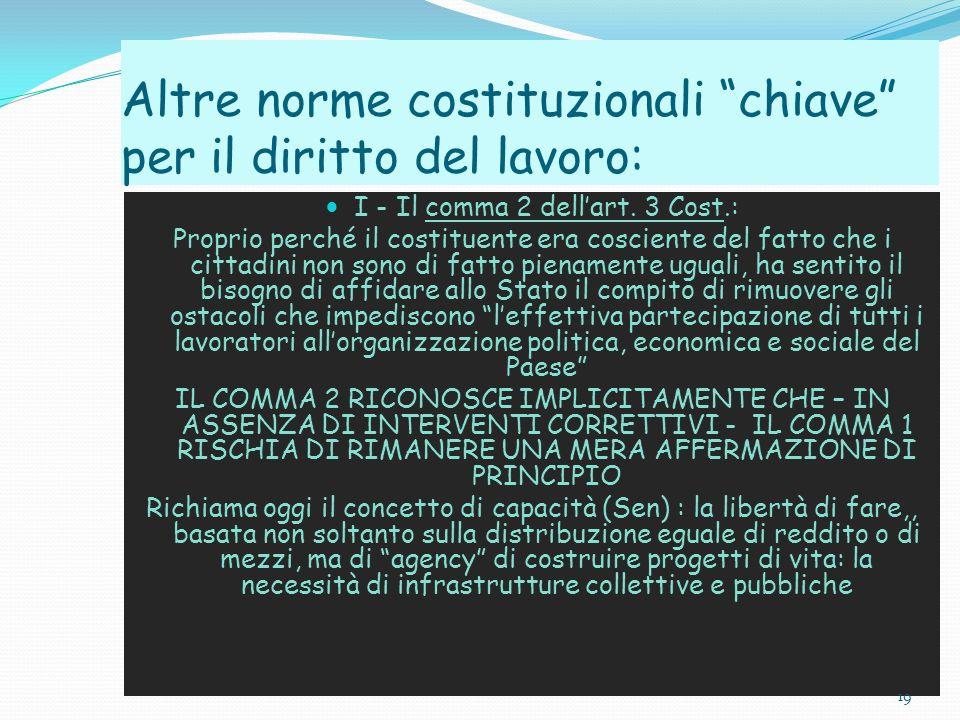 Altre norme costituzionali chiave per il diritto del lavoro: I - Il comma 2 dellart. 3 Cost.: Proprio perché il costituente era cosciente del fatto ch
