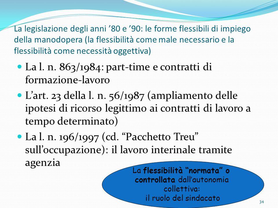 La legislazione degli anni 80 e 90: le forme flessibili di impiego della manodopera (la flessibilità come male necessario e la flessibilità come neces