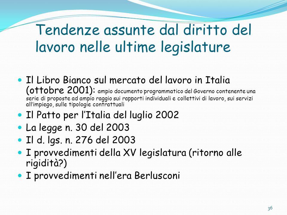 Tendenze assunte dal diritto del lavoro nelle ultime legislature Il Libro Bianco sul mercato del lavoro in Italia (ottobre 2001): ampio documento prog