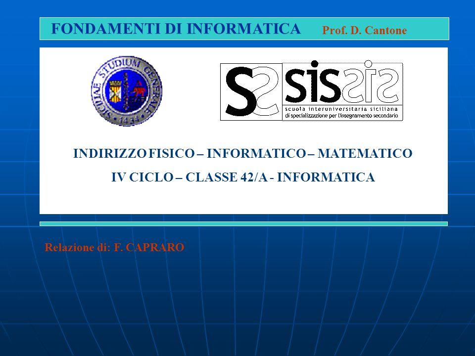 FONDAMENTI DI INFORMATICA Prof. D. Cantone Relazione di: F. CAPRARO INDIRIZZO FISICO – INFORMATICO – MATEMATICO IV CICLO – CLASSE 42/A - INFORMATICA