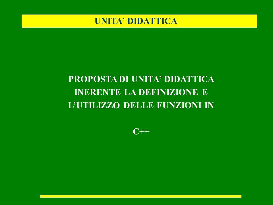 UNITA DIDATTICA PROPOSTA DI UNITA DIDATTICA INERENTE LA DEFINIZIONE E LUTILIZZO DELLE FUNZIONI IN C++