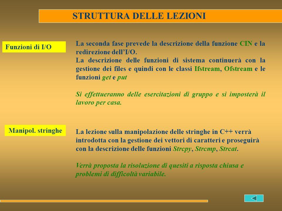 STRUTTURA DELLE LEZIONI Funzioni di I/O La seconda fase prevede la descrizione della funzione CIN e la redirezione dellI/O. La descrizione delle funzi