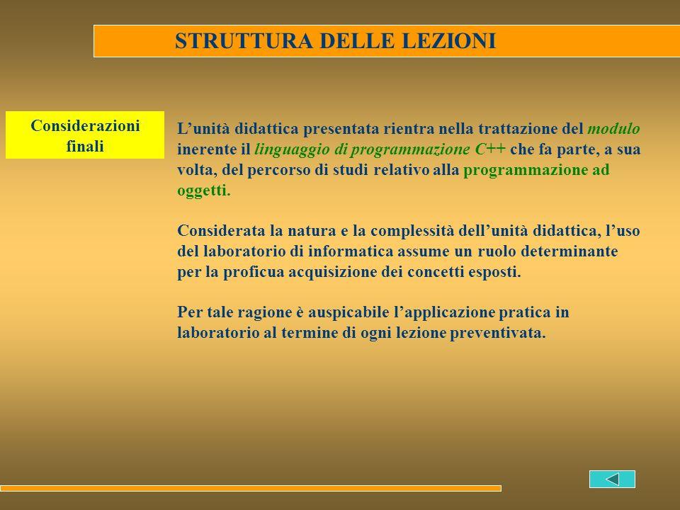 STRUTTURA DELLE LEZIONI Lunità didattica presentata rientra nella trattazione del modulo inerente il linguaggio di programmazione C++ che fa parte, a