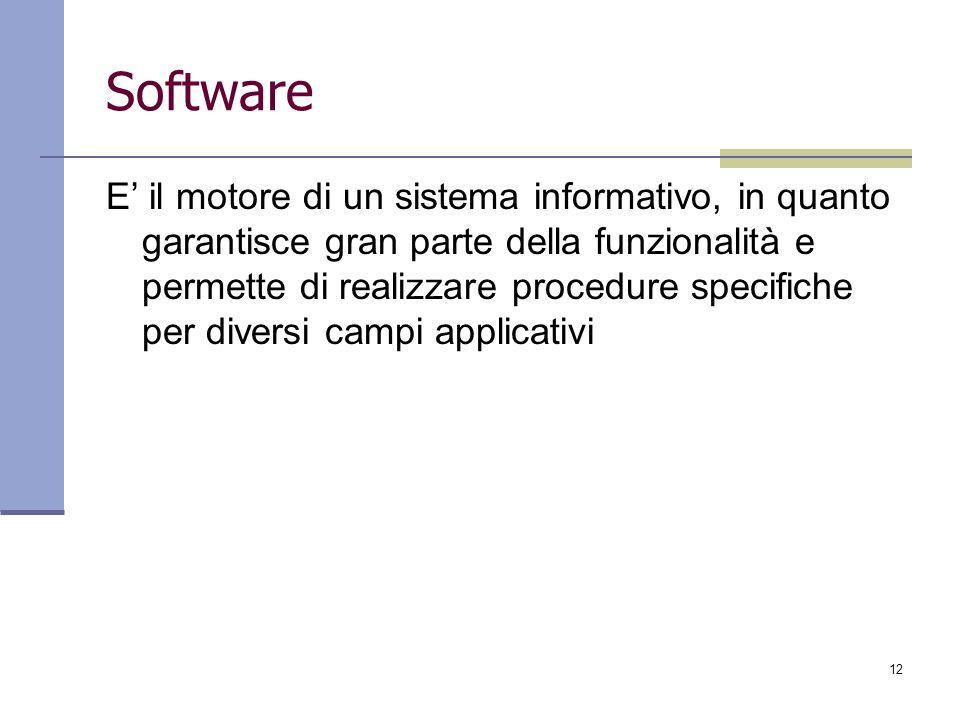 12 Software E il motore di un sistema informativo, in quanto garantisce gran parte della funzionalità e permette di realizzare procedure specifiche pe