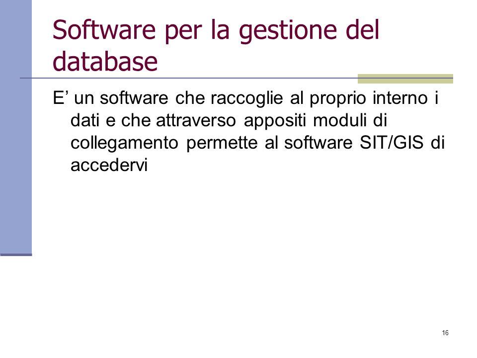16 Software per la gestione del database E un software che raccoglie al proprio interno i dati e che attraverso appositi moduli di collegamento permet