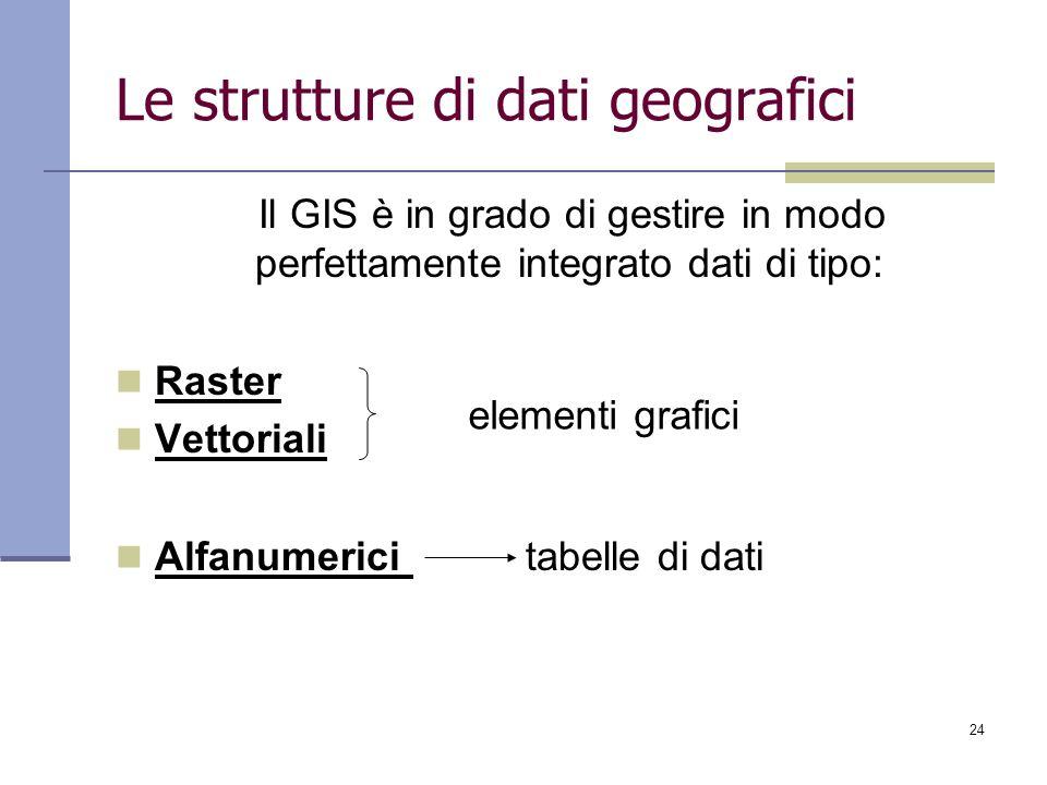 24 Le strutture di dati geografici Il GIS è in grado di gestire in modo perfettamente integrato dati di tipo: Raster Vettoriali Alfanumerici tabelle d