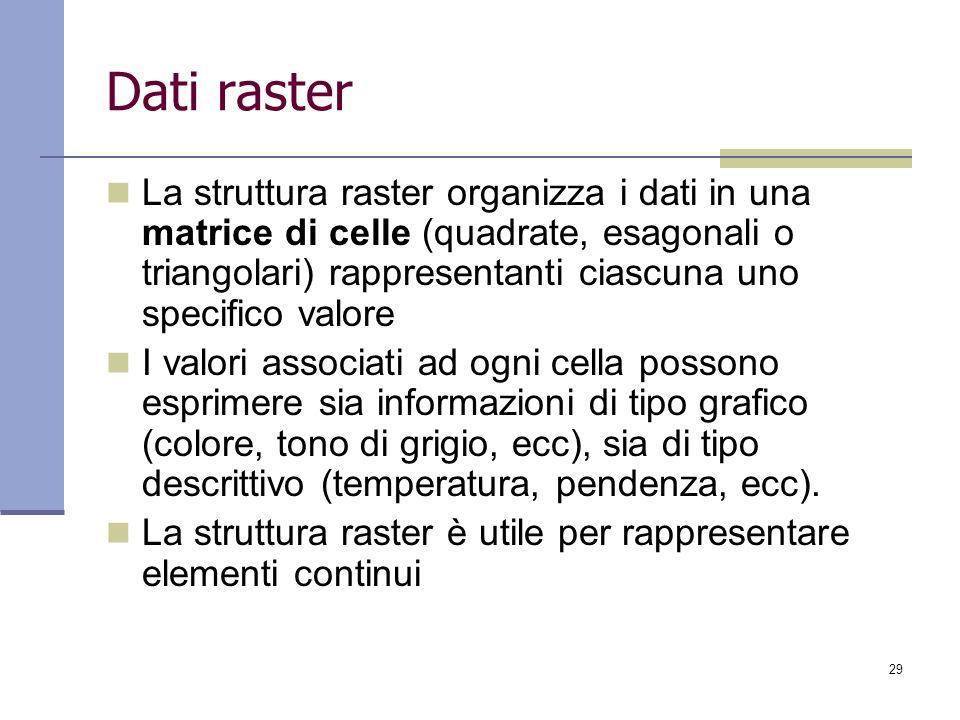 29 Dati raster La struttura raster organizza i dati in una matrice di celle (quadrate, esagonali o triangolari) rappresentanti ciascuna uno specifico