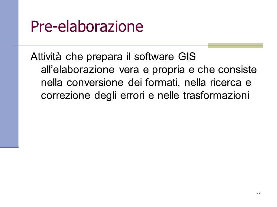 35 Pre-elaborazione Attività che prepara il software GIS allelaborazione vera e propria e che consiste nella conversione dei formati, nella ricerca e