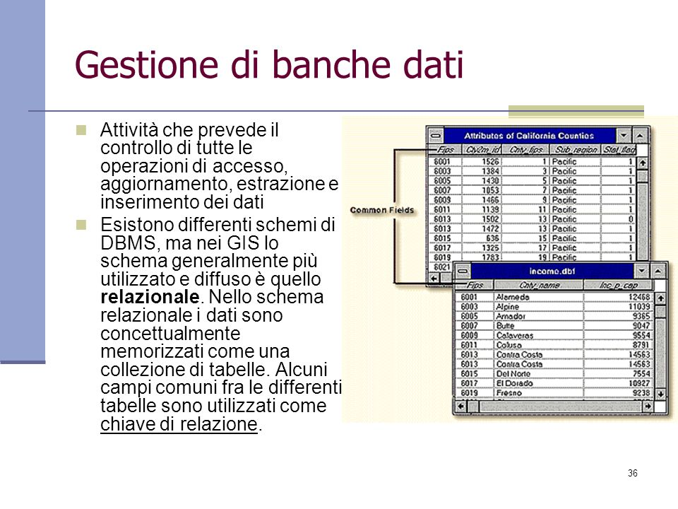 36 Gestione di banche dati Attività che prevede il controllo di tutte le operazioni di accesso, aggiornamento, estrazione e inserimento dei dati Esist