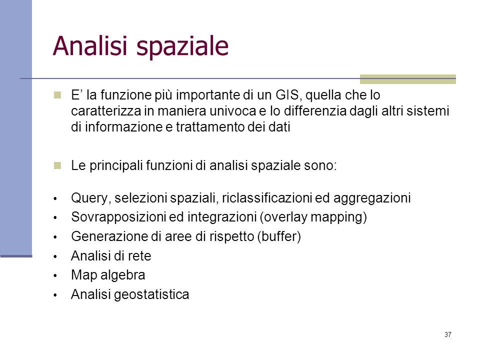 37 Analisi spaziale E la funzione più importante di un GIS, quella che lo caratterizza in maniera univoca e lo differenzia dagli altri sistemi di info