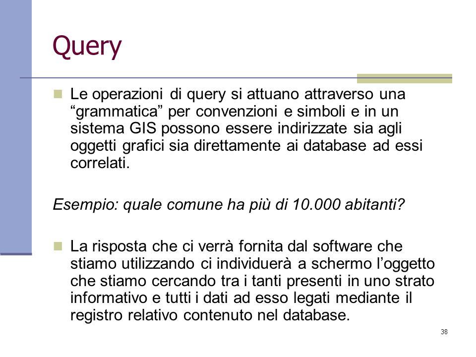 38 Query Le operazioni di query si attuano attraverso una grammatica per convenzioni e simboli e in un sistema GIS possono essere indirizzate sia agli