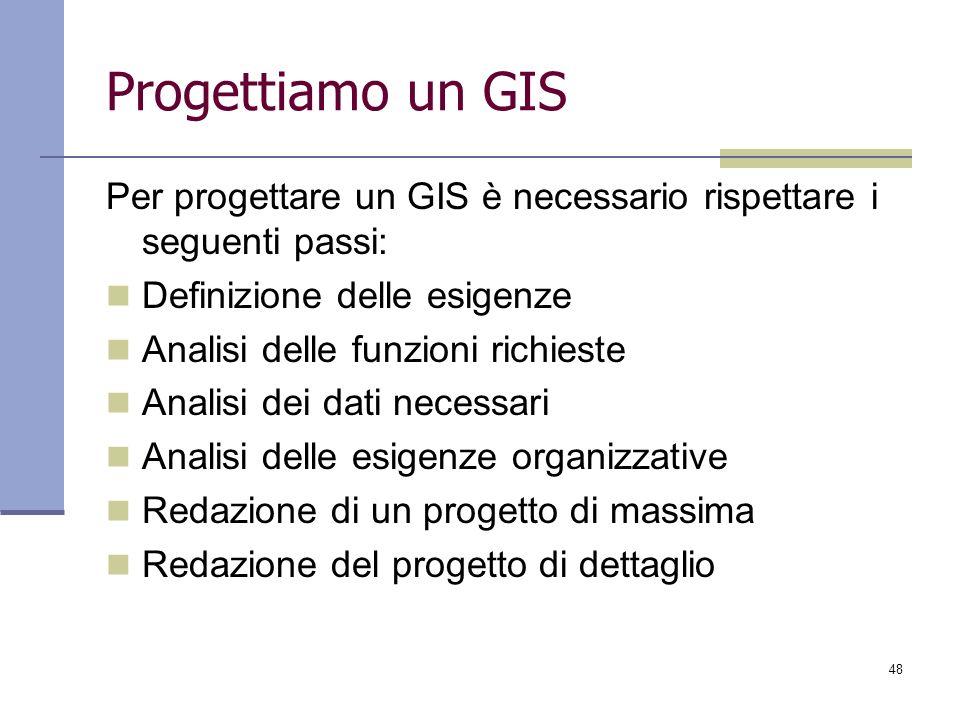 48 Progettiamo un GIS Per progettare un GIS è necessario rispettare i seguenti passi: Definizione delle esigenze Analisi delle funzioni richieste Anal