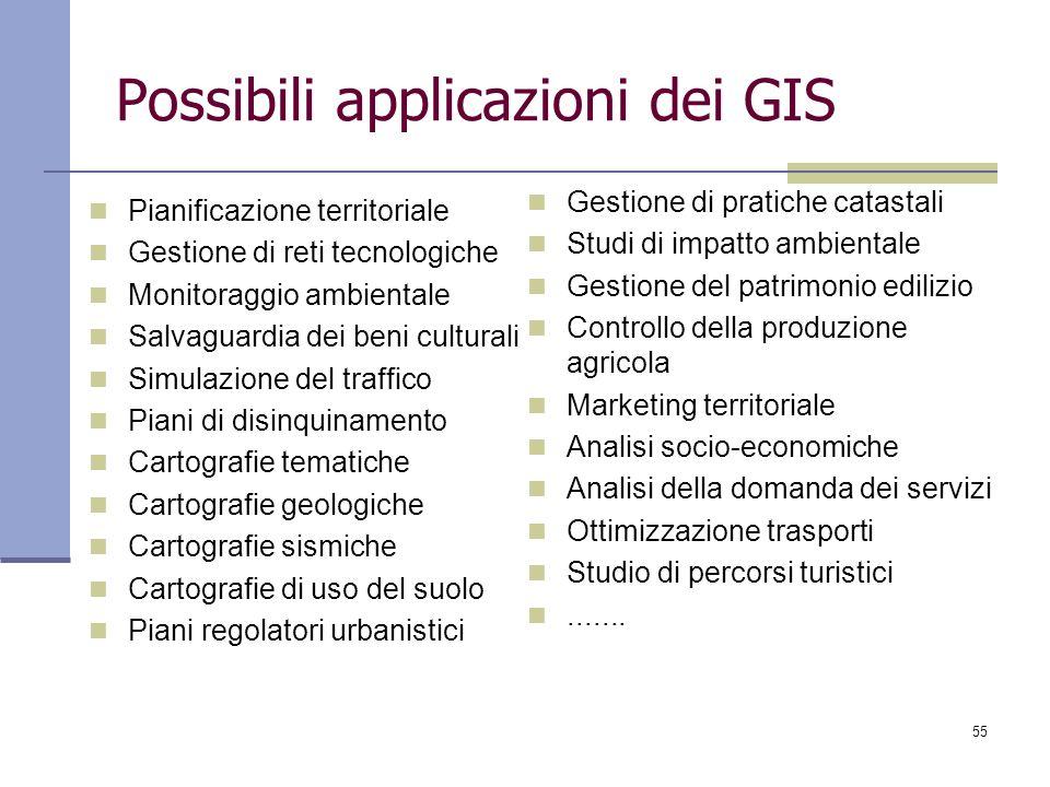 55 Possibili applicazioni dei GIS Pianificazione territoriale Gestione di reti tecnologiche Monitoraggio ambientale Salvaguardia dei beni culturali Si