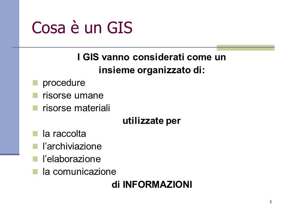 6 Cosa è un GIS I GIS vanno considerati come un insieme organizzato di: procedure risorse umane risorse materiali utilizzate per la raccolta larchivia