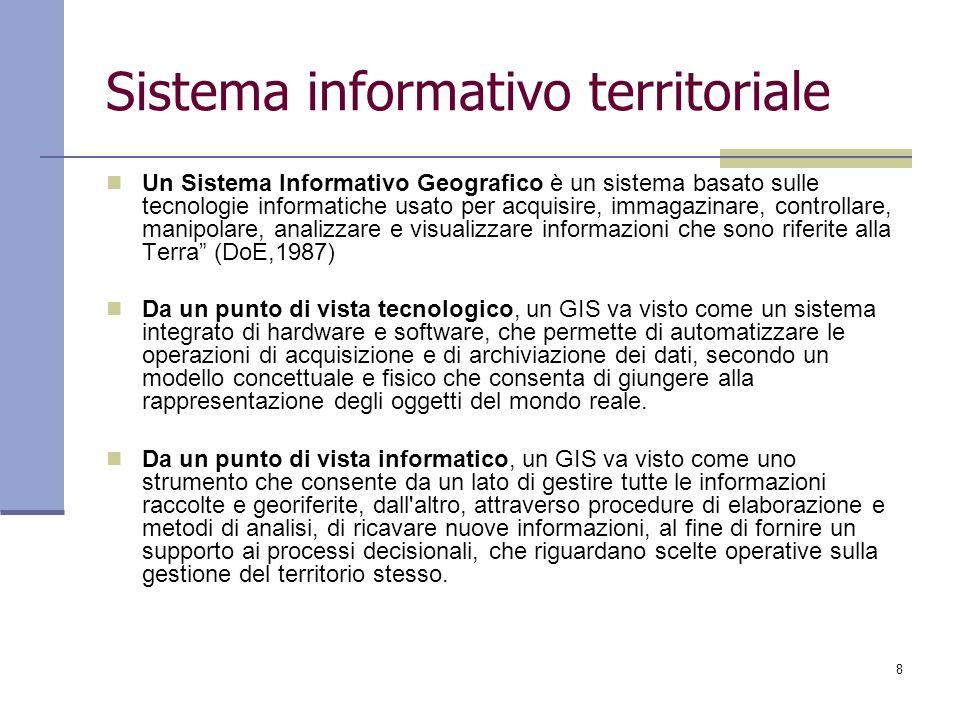 8 Sistema informativo territoriale Un Sistema Informativo Geografico è un sistema basato sulle tecnologie informatiche usato per acquisire, immagazina