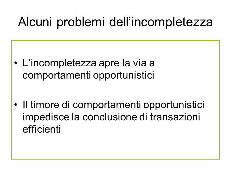 Alcuni problemi dellincompletezza Lincompletezza apre la via a comportamenti opportunistici Il timore di comportamenti opportunistici impedisce la con