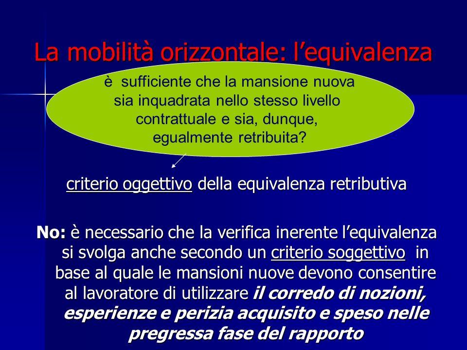 La mobilità orizzontale: lequivalenza criterio oggettivo della equivalenza retributiva No: è necessario che la verifica inerente lequivalenza si svolg