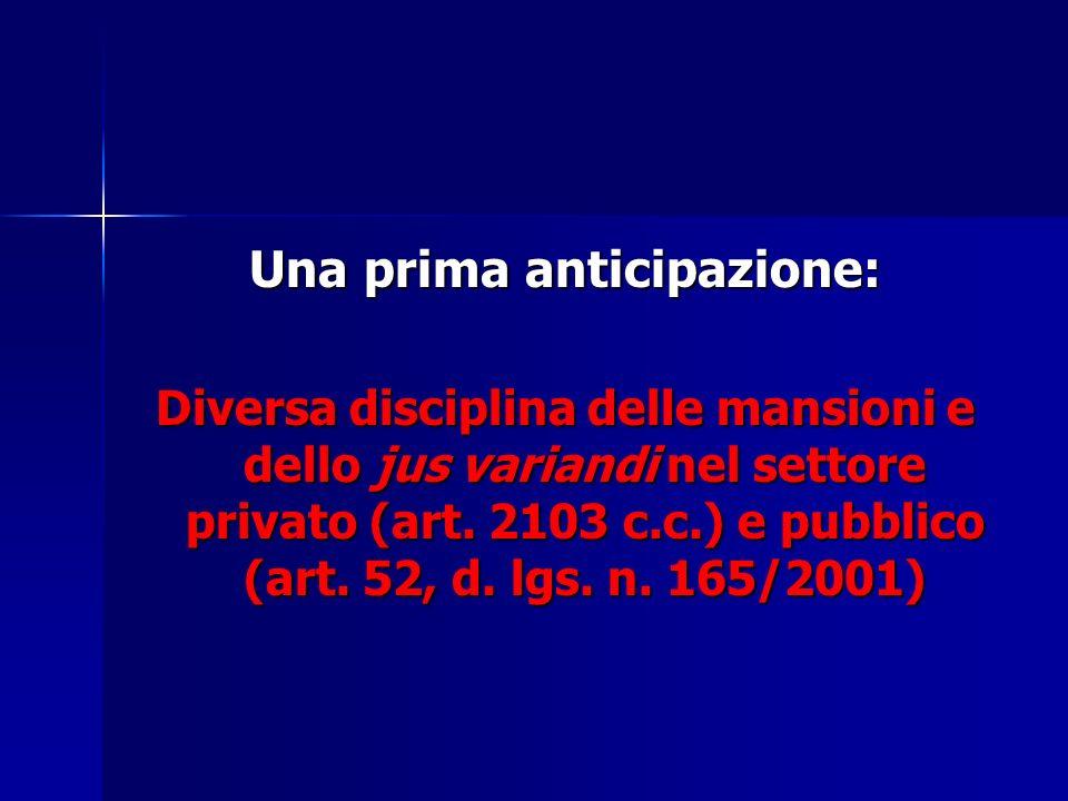 Una prima anticipazione: Diversa disciplina delle mansioni e dello jus variandi nel settore privato (art. 2103 c.c.) e pubblico (art. 52, d. lgs. n. 1