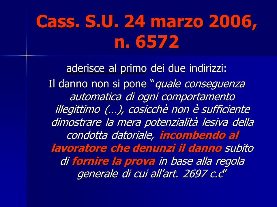 Cass. S.U. 24 marzo 2006, n. 6572 aderisce al primo dei due indirizzi: Il danno non si pone quale conseguenza automatica di ogni comportamento illegit