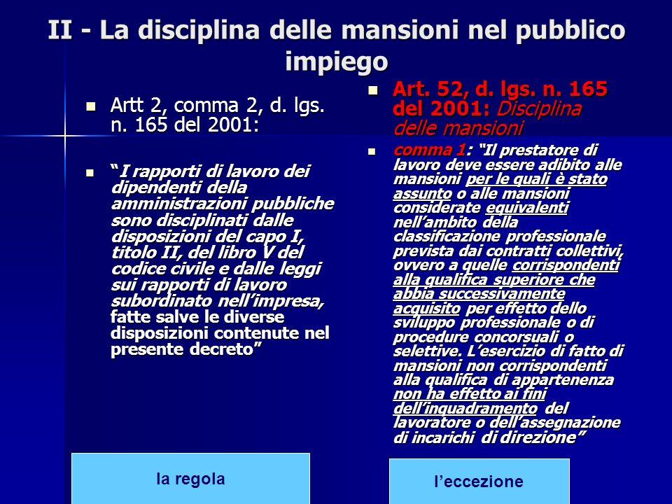 II - La disciplina delle mansioni nel pubblico impiego Artt 2, comma 2, d. lgs. n. 165 del 2001: Artt 2, comma 2, d. lgs. n. 165 del 2001: I rapporti