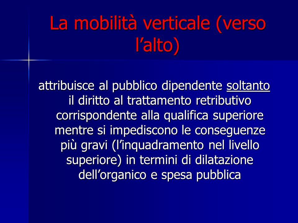 La mobilità verticale (verso lalto) attribuisce al pubblico dipendente soltanto il diritto al trattamento retributivo corrispondente alla qualifica su